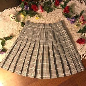 Vintage High Waisted Plaid Pleated Skirt